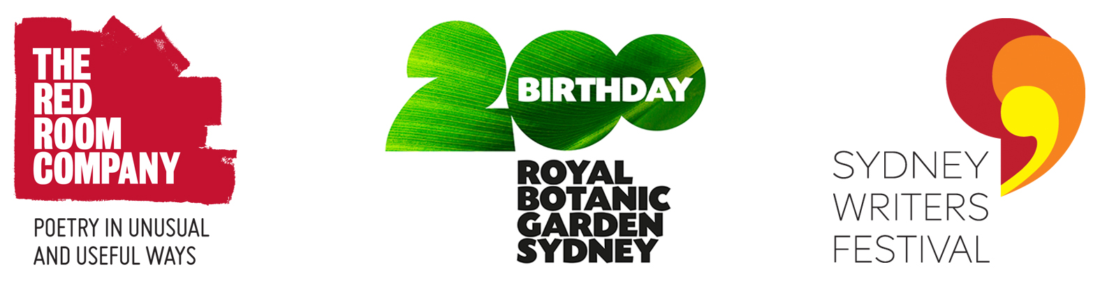 Logos: Red Room Company, Royal Botanic Garden Sydney and Sydney Writers Festival
