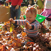 Playing in autumn leaves