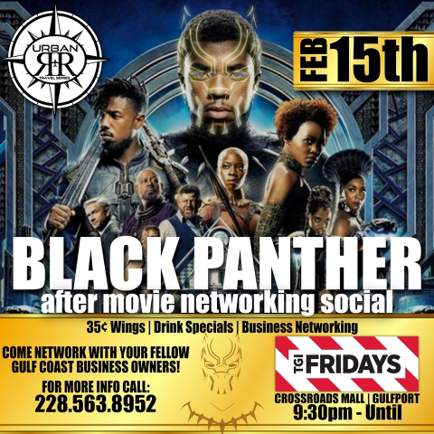 Urban R&R Travel Series Black Panther Networking Social Invitation