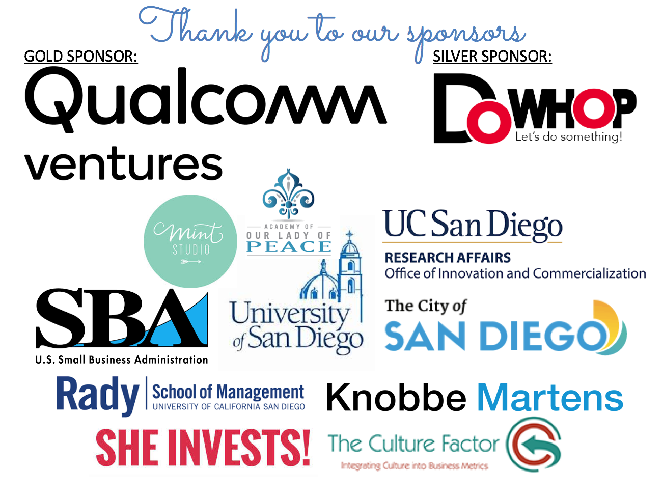 Event Sponsors for Hera Venture Summit 2018: GOLD:Qualcomm Ventures, SILVER: DoWhop, University of Sn Diego, Our Lady of Peace, Mint studios, She Invests!, Knobbe Martens, The Culture Factor, Rady School of Management at UCSD, The City of San Diego, SBA,  and the Office of Innovation and Commercialization at UCSD.