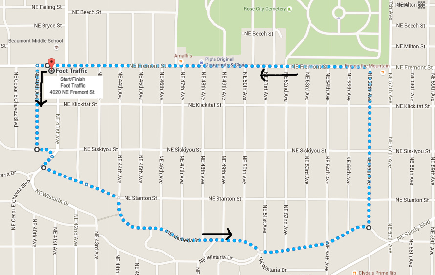Dash to Doughnuts Route Map
