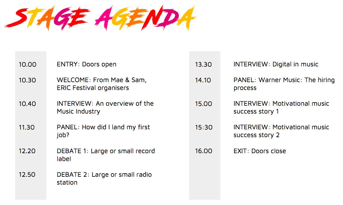 Stage agenda