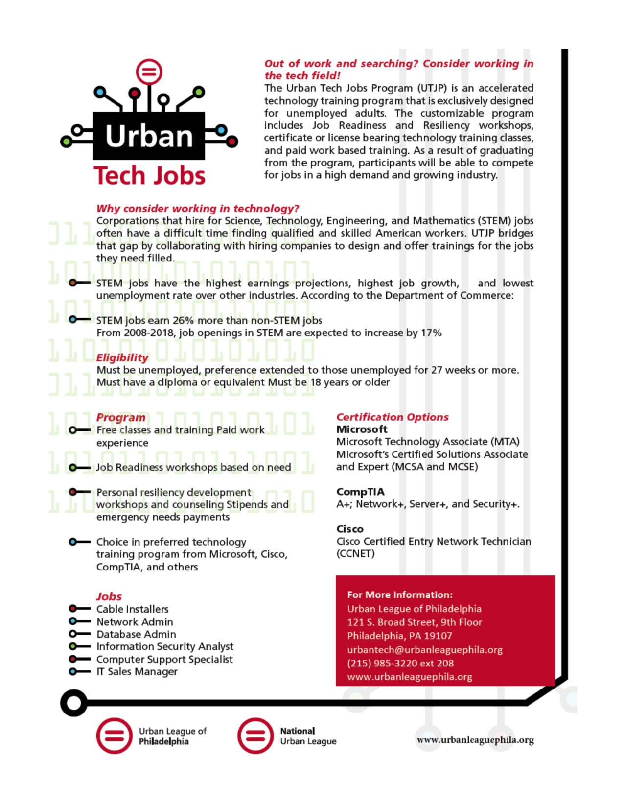 The urban tech jobs program utjp has begun recruiting for the this free training program includes certificate or license bearing tech training classes and paid internships xflitez Images