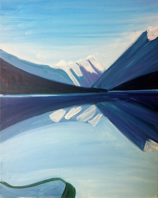 Acrylic painting of arctic mountains in tones of blue