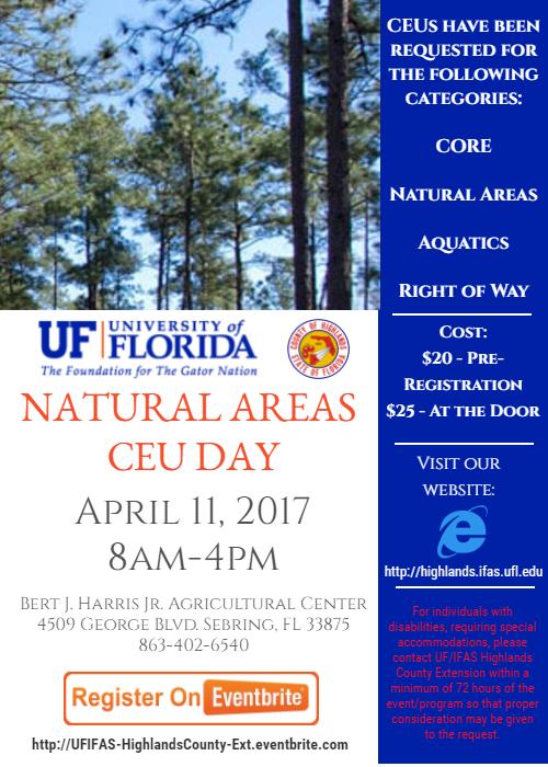 Natural Areas CEU Day - April 11 - 8-4