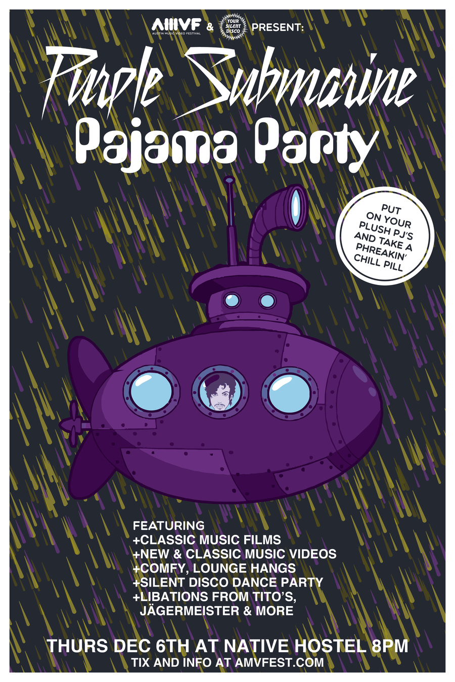 Purple Submarine Pajama Party POSTER