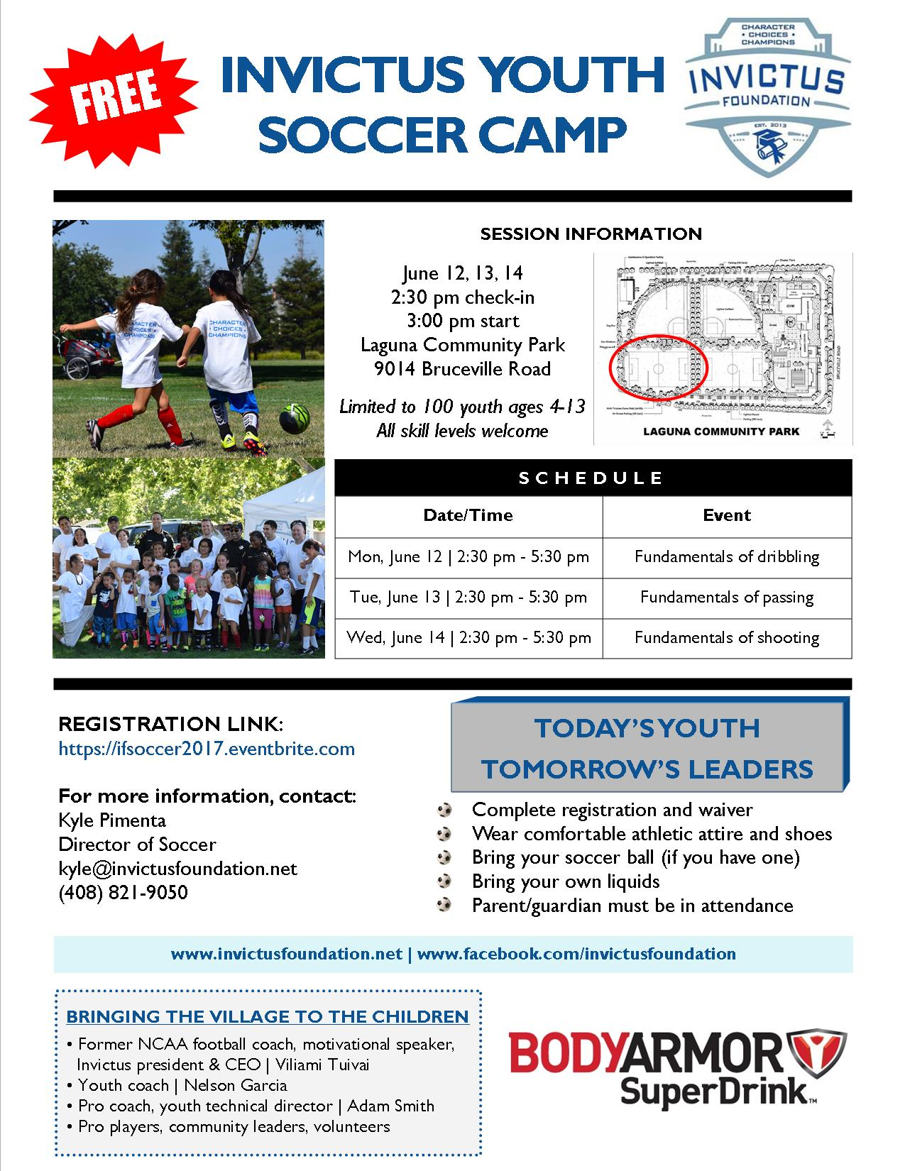 2017 Invictus Youth Soccer Camp flyer