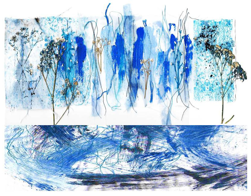 Blue textiles collage by Nicky Simpson