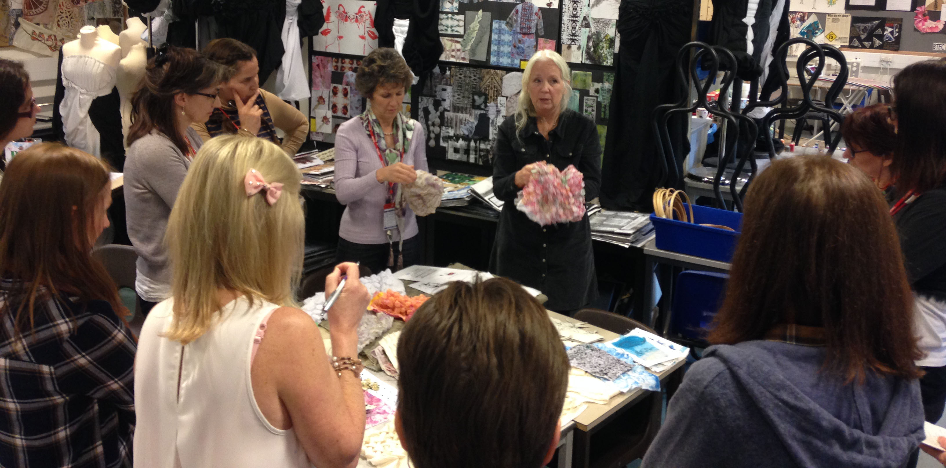 Nicky Simpson - demonstrating quilting techniques