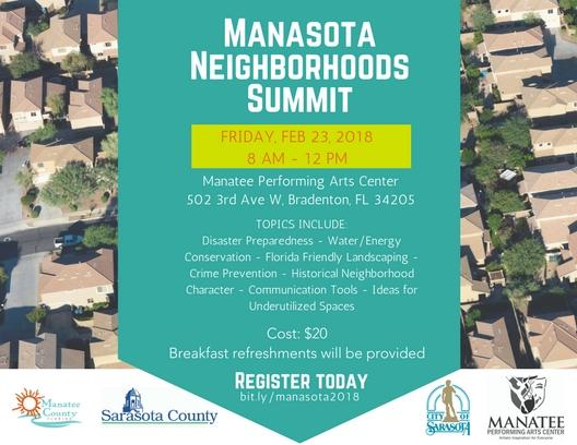 Manasota Neighborhoods Summit flyer with detailed information