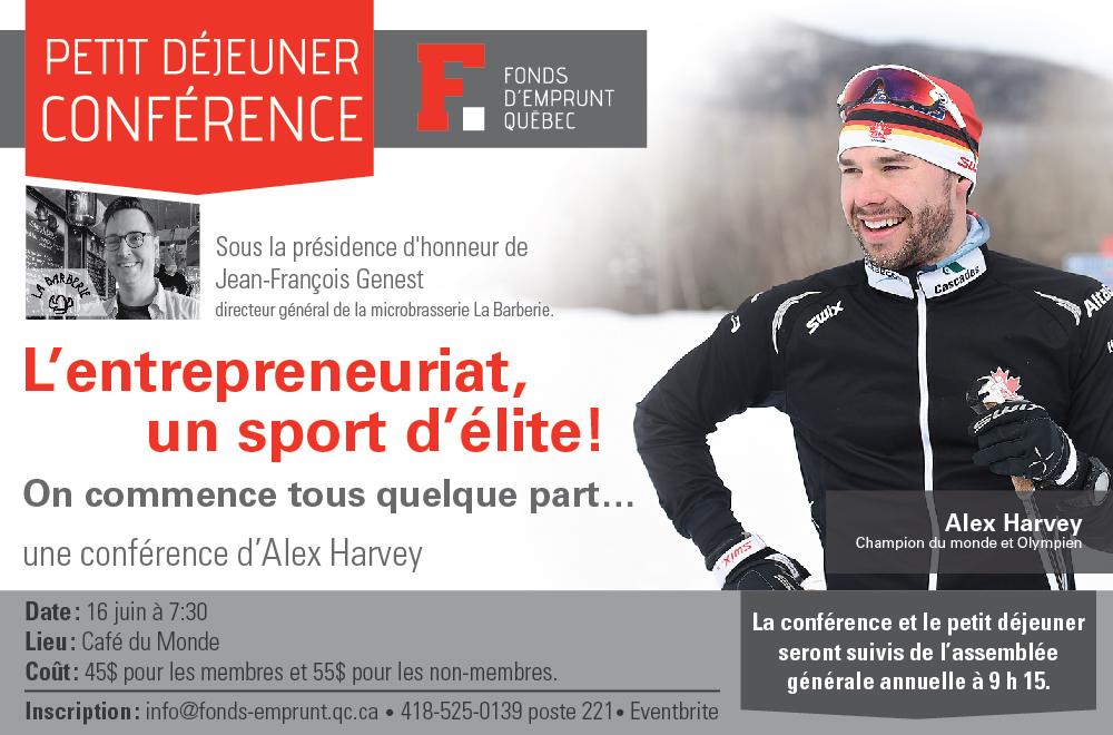 Photo d'Alex sur la neige, souriant, en habit de ski noir. Petite photo de Jean-François de La Barberie. Logo Fond d'emprunt Québec.