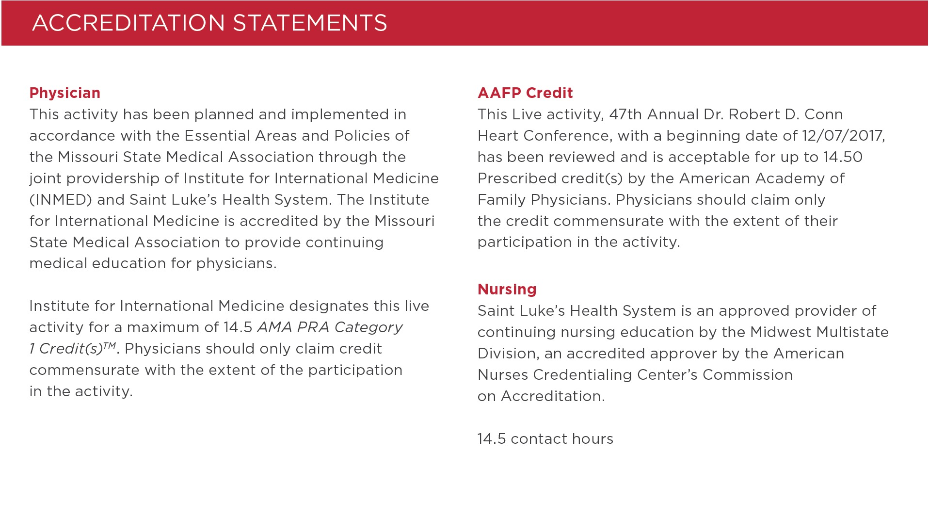 Accreditation Statements, AMA/AAFP/Nursing