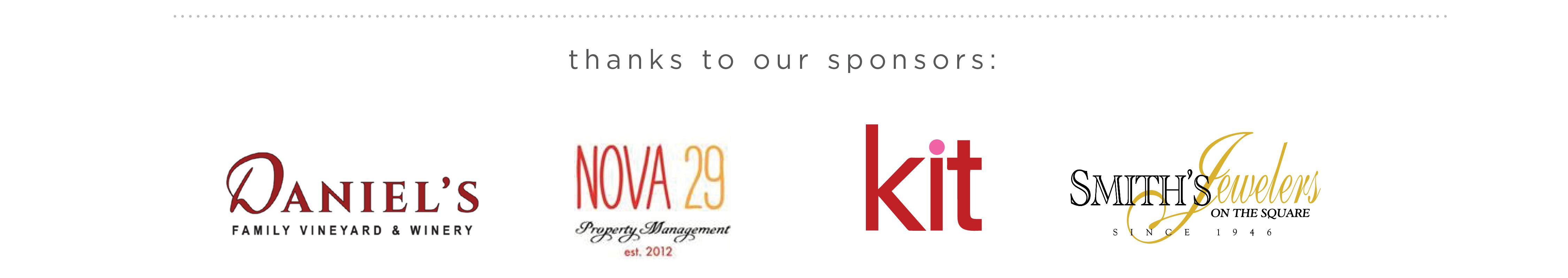 Our sponsors: Daniel's Vineyard, Nova 29, Kit and Smith's Jewelers
