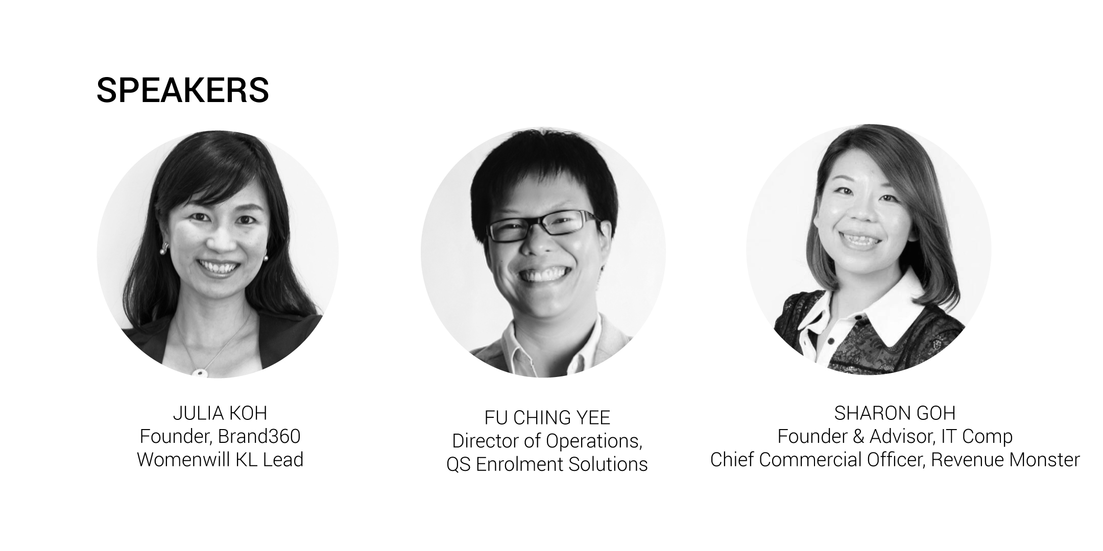 Womenwill workshop speaker - Julia Koh, Fu Ching Yee, Sharon Goh