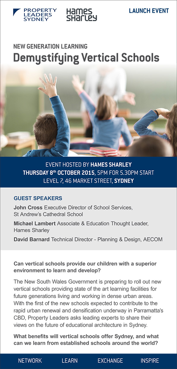 Property Leaders Sydney Demystifying Vertical Schools event hosted by Hames Sharley