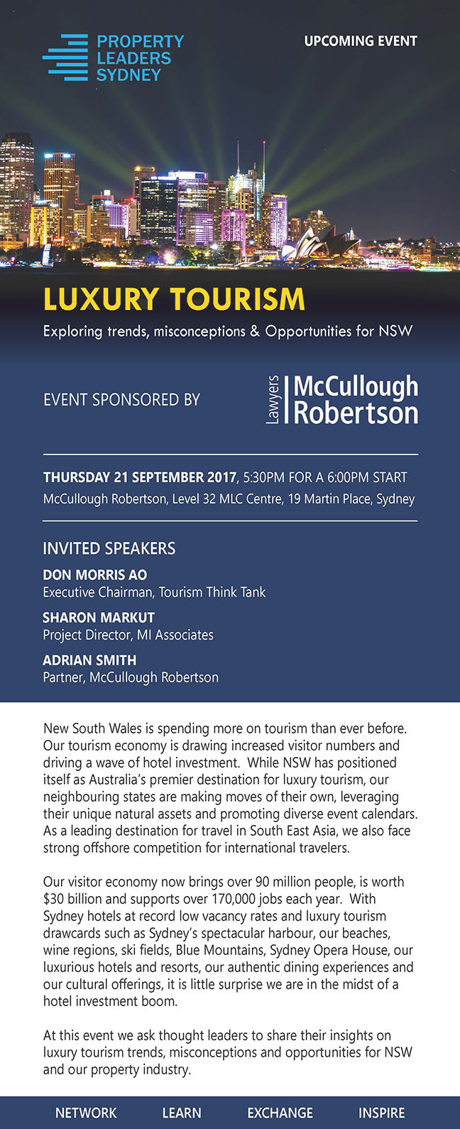 Property Leaders Sydney and event sponsor McCullough Robertson announce our next event Luxury Tourism: Exploring trends, misconceptions and opportunities for NSW