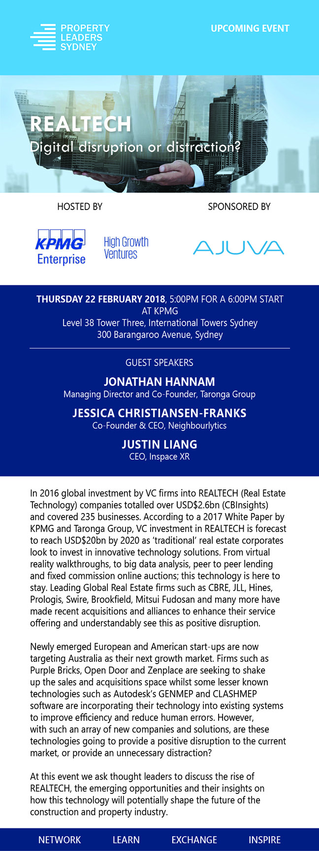 Property Leaders Sydney, event host KPMG and sponsor AJUVA present REALTECH: Digital Disruption or Distraction?