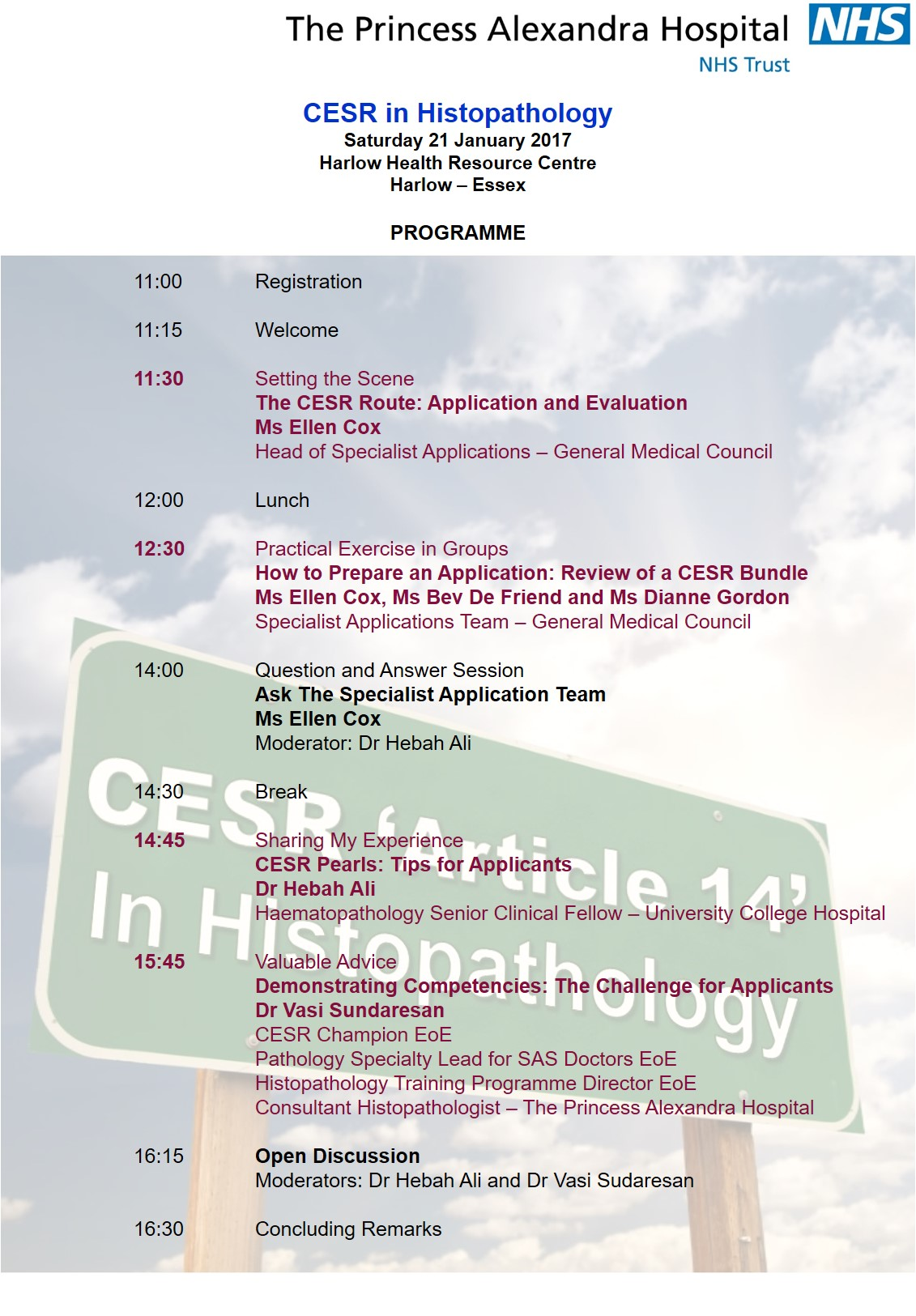 CESR in Histopathology Programme