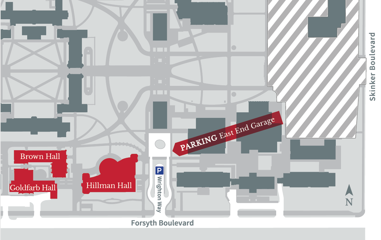 Map of Parking Garage & Brown Hall