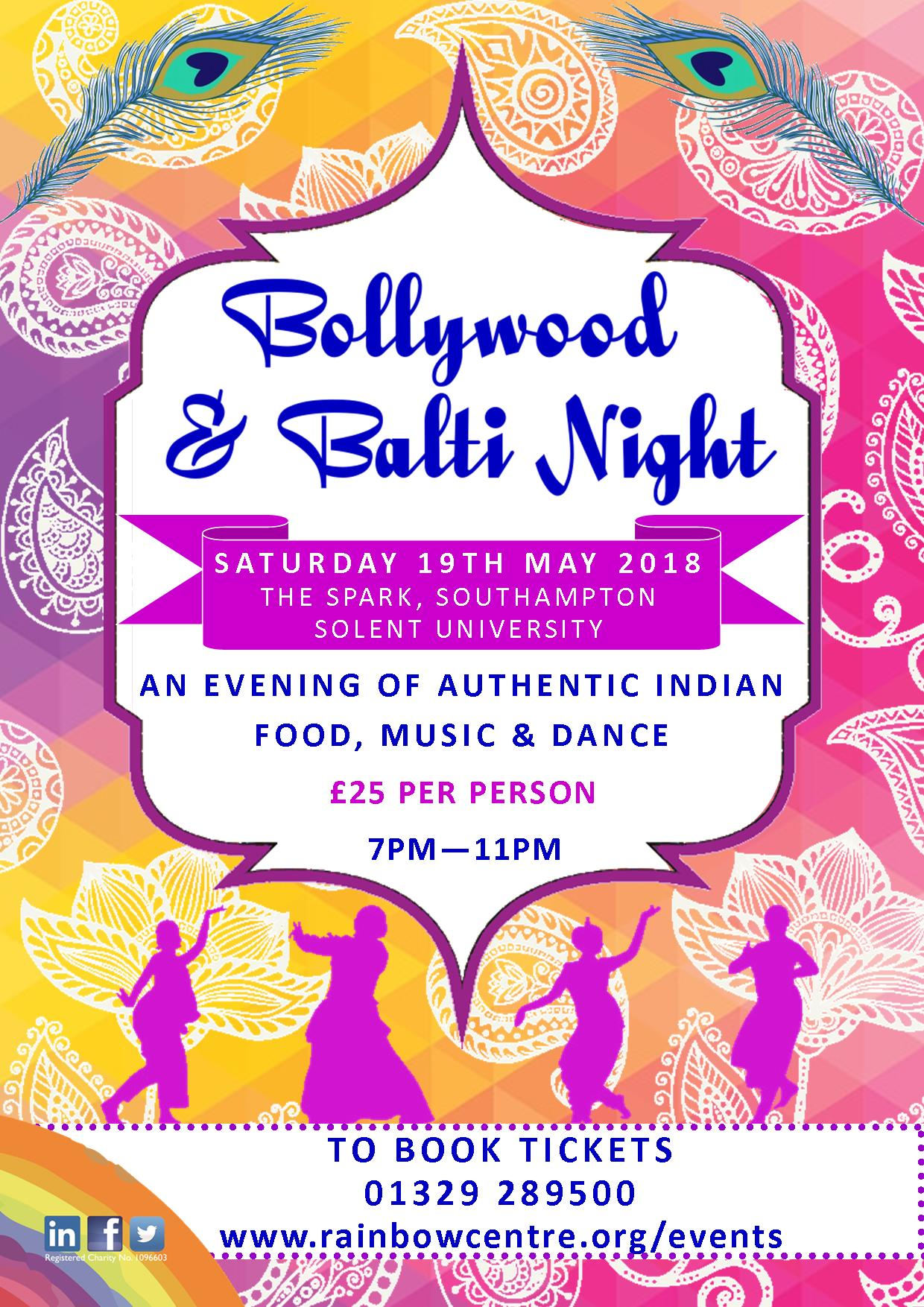 Bollywood & Balti Night event poster Southampton