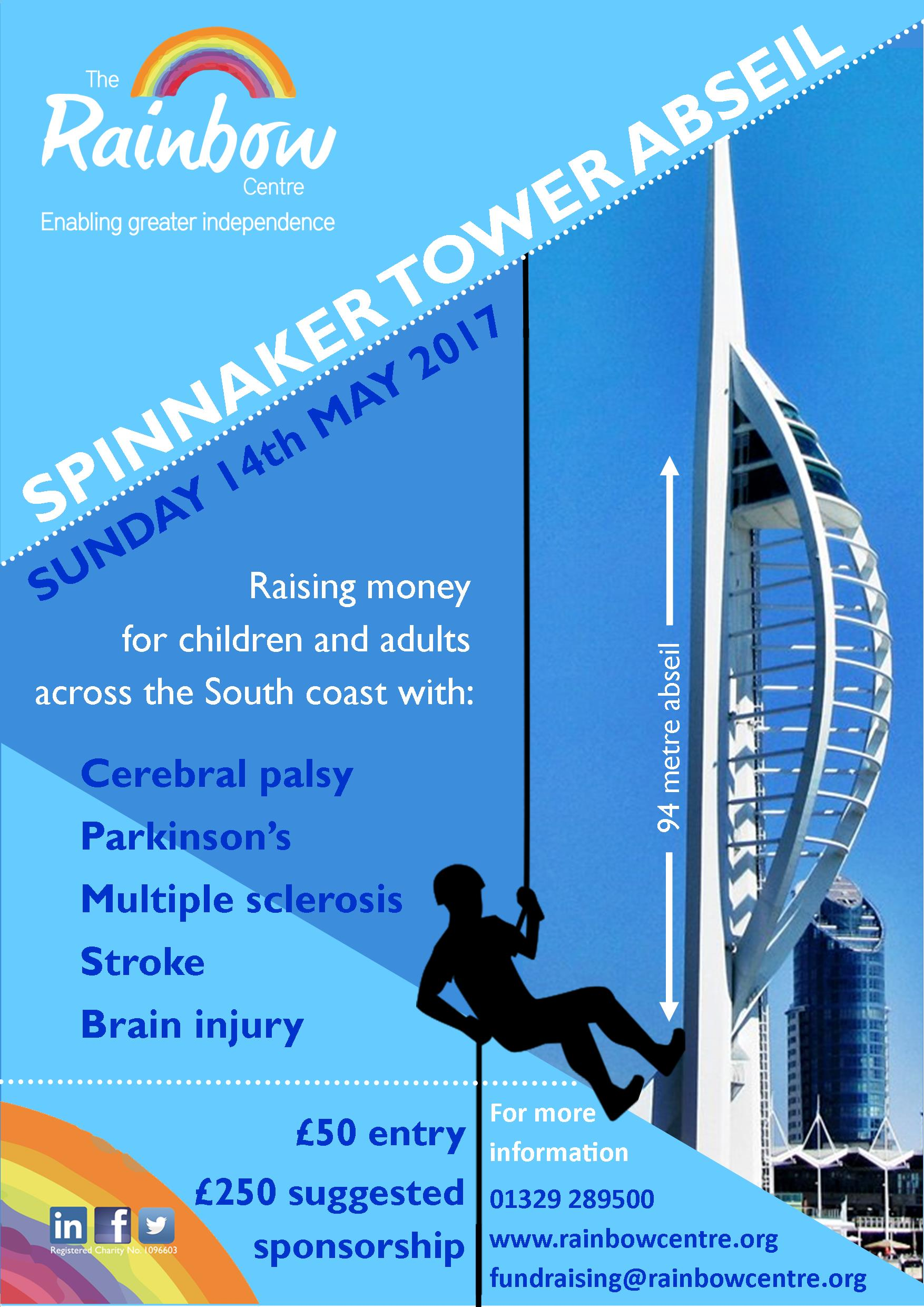 Spinnaker Tower Charity Abseil poster in aid of The Rainbow Centre