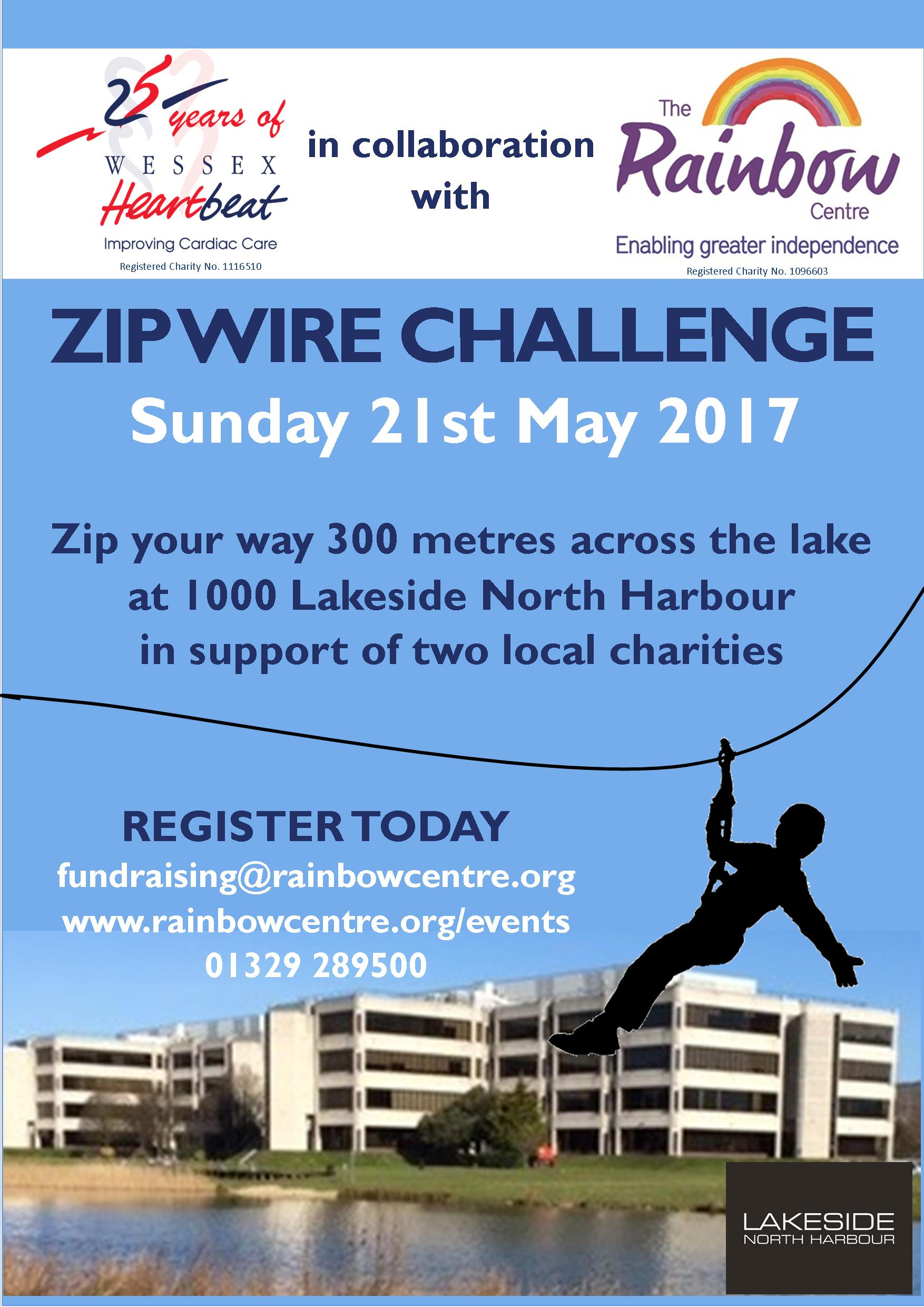 Rainbow Centre Portsmouth Zip Wire Challenge poster