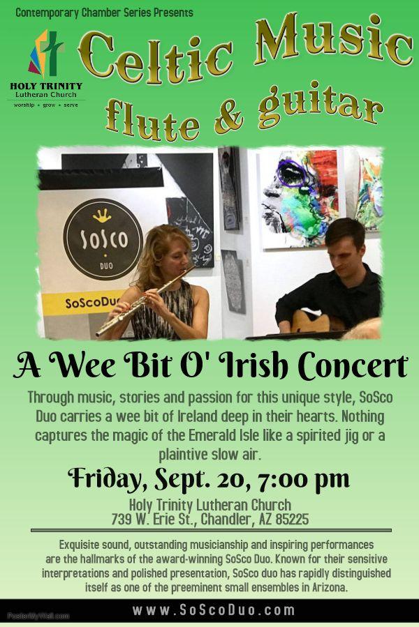 SoSco Flute & Guitar Duo Plays Irish Music Holy Trinity Lutheran Church