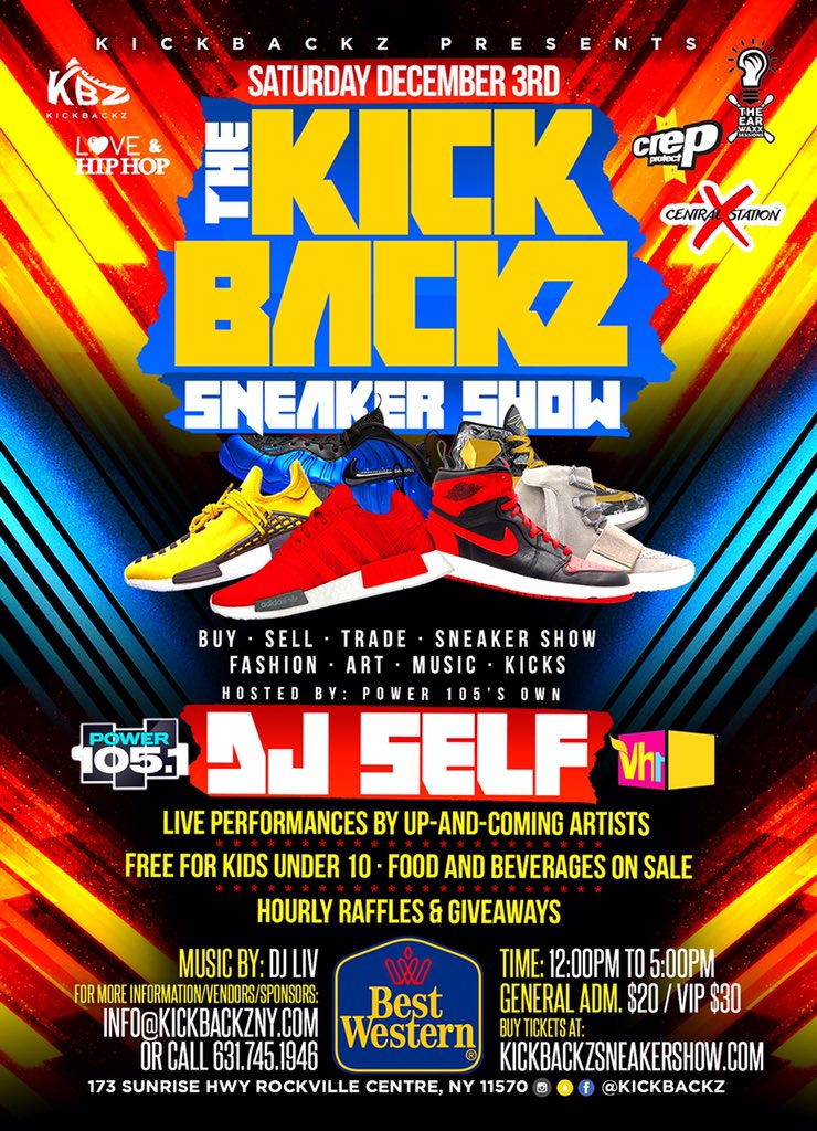 The official KickBackz Sneaker Show flyer for 12/3/16.