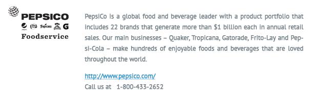pepsico logo and info