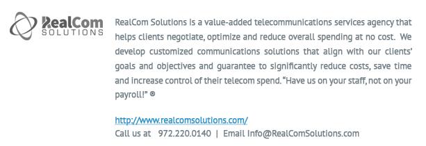 realcom logo and info