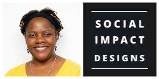 Regina Walton picture and Social Impact Designs logo