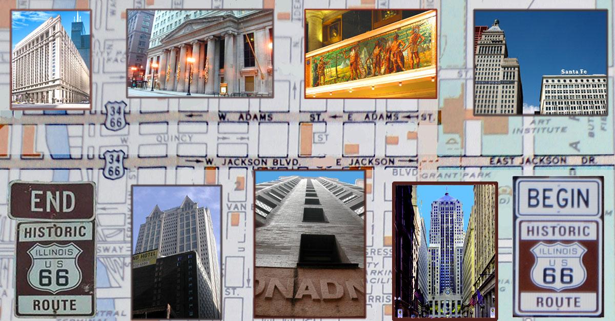 Route 66 architecture in Chicago postcard