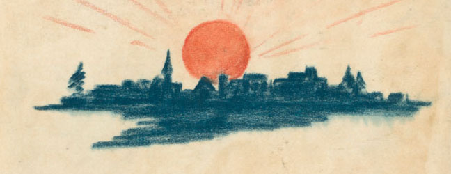 Sunset over Christmas city, from 1939 Montgomery Ward Rudolph book