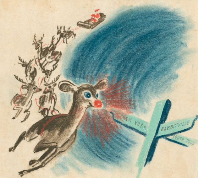 Rudolph leading sleigh through sky, illustration from 1939 Montgomery Ward book
