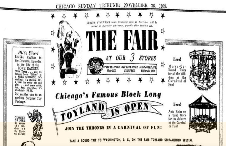 ad for The Fair Store's 1939 Toyland
