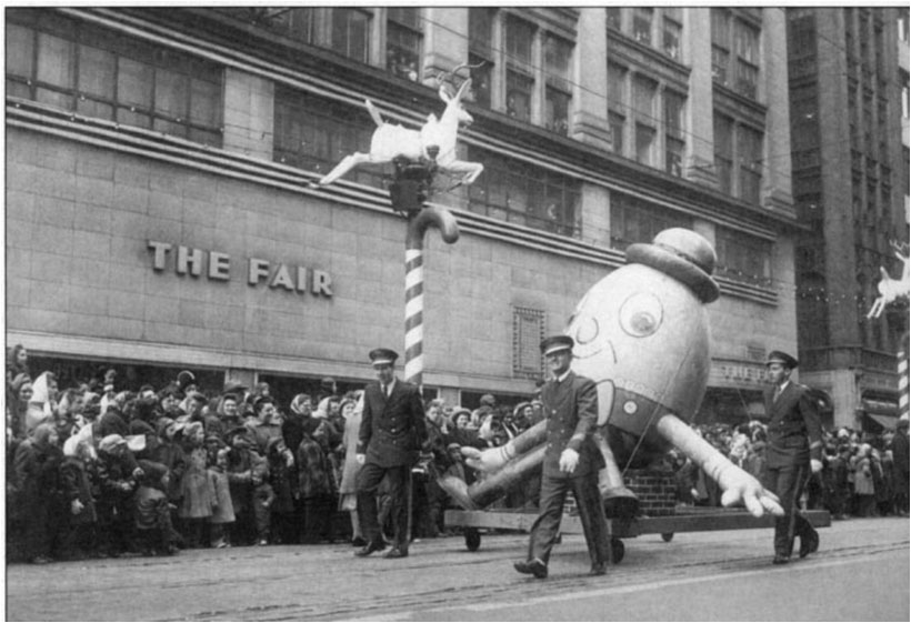 Humpty Dumpty Float in front of The Fair Store, 1949 Christmas Parade