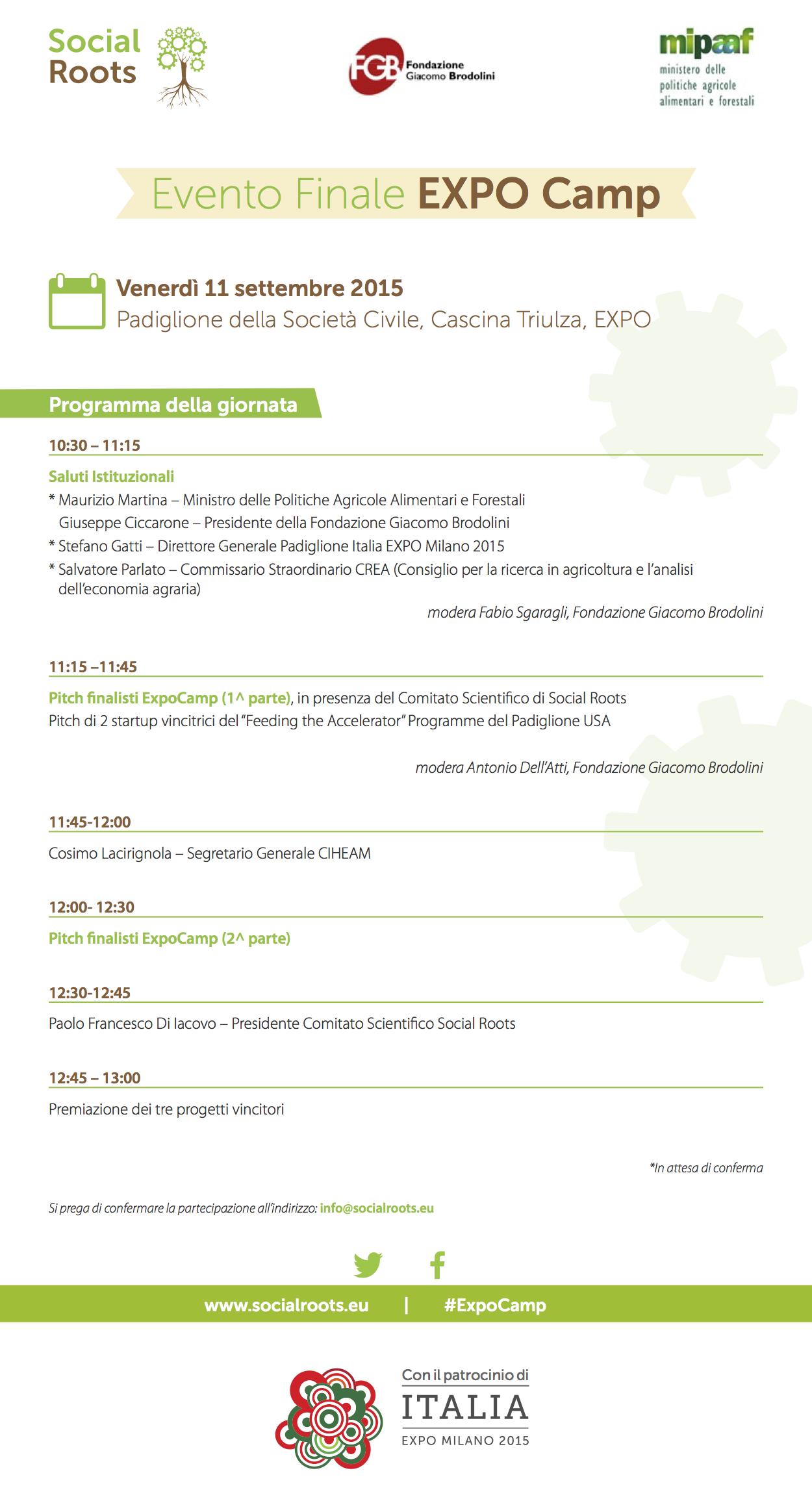 EXPO Camp Final Event: programma