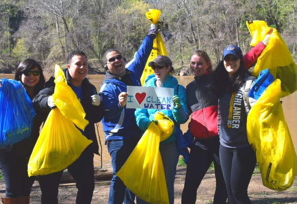 Watershed Cleanup Day 2017 volunteers pose with the trash they collected