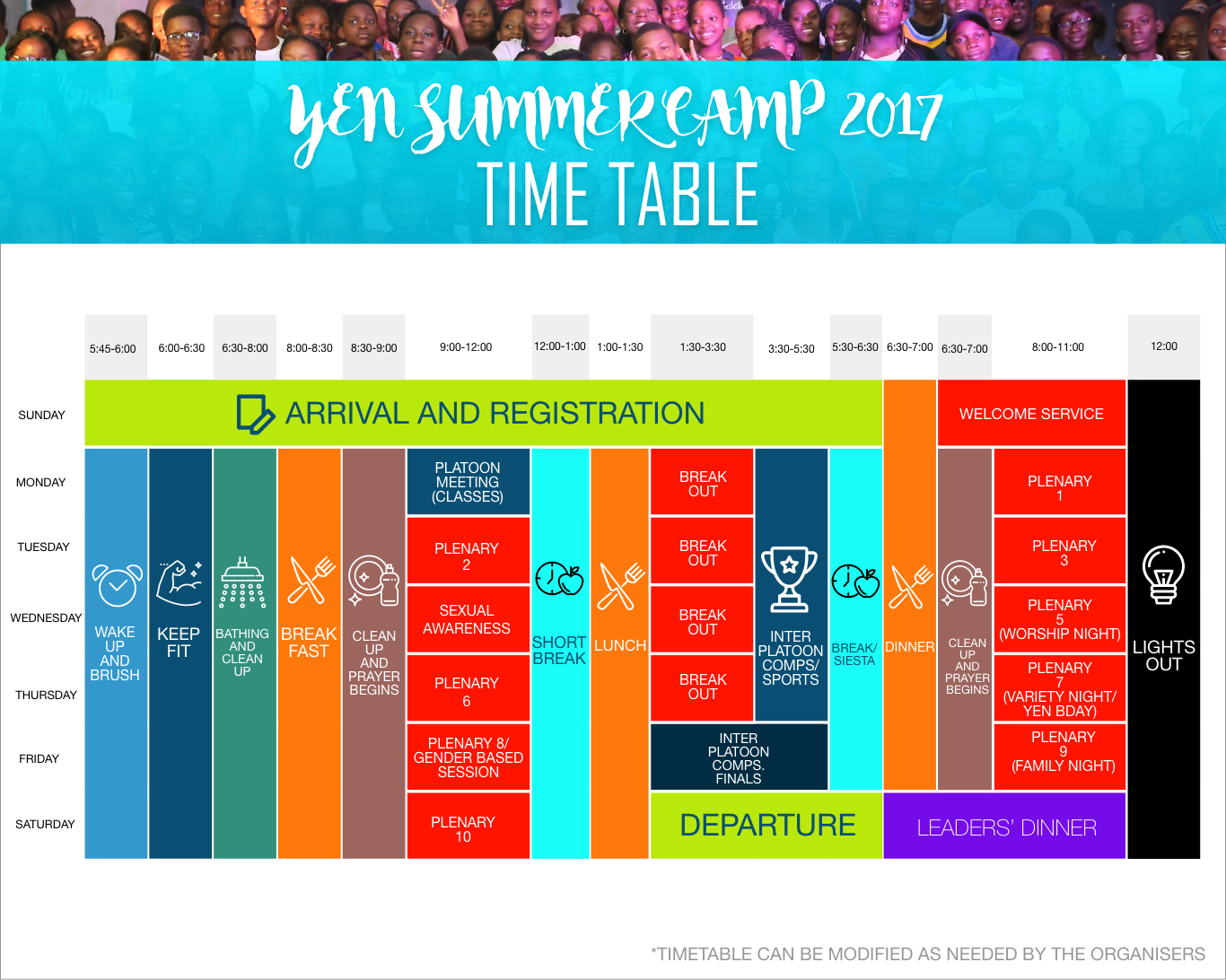 Summer camp timetable