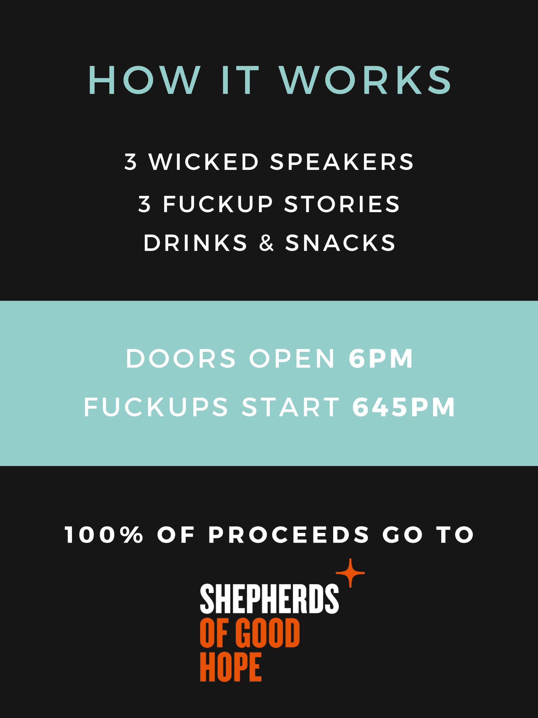 How it works - 3 speakers, 3 fuckup stories, drinks and snacks. Doors open at 6pm. Fuckup starts at 645pm. 100% of proceeds go to Shepherds of Good Hope.