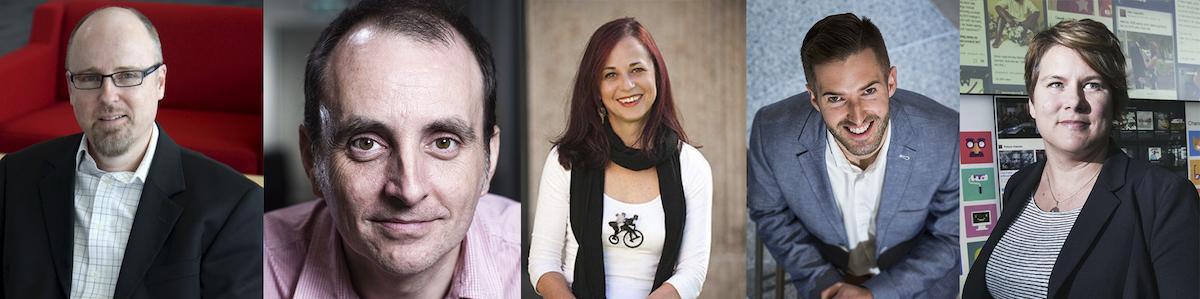 headshots of the five panelists