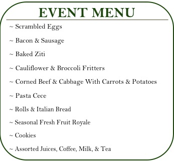 St. Patrick's & St. Joseph's Mass & Brunch Menu