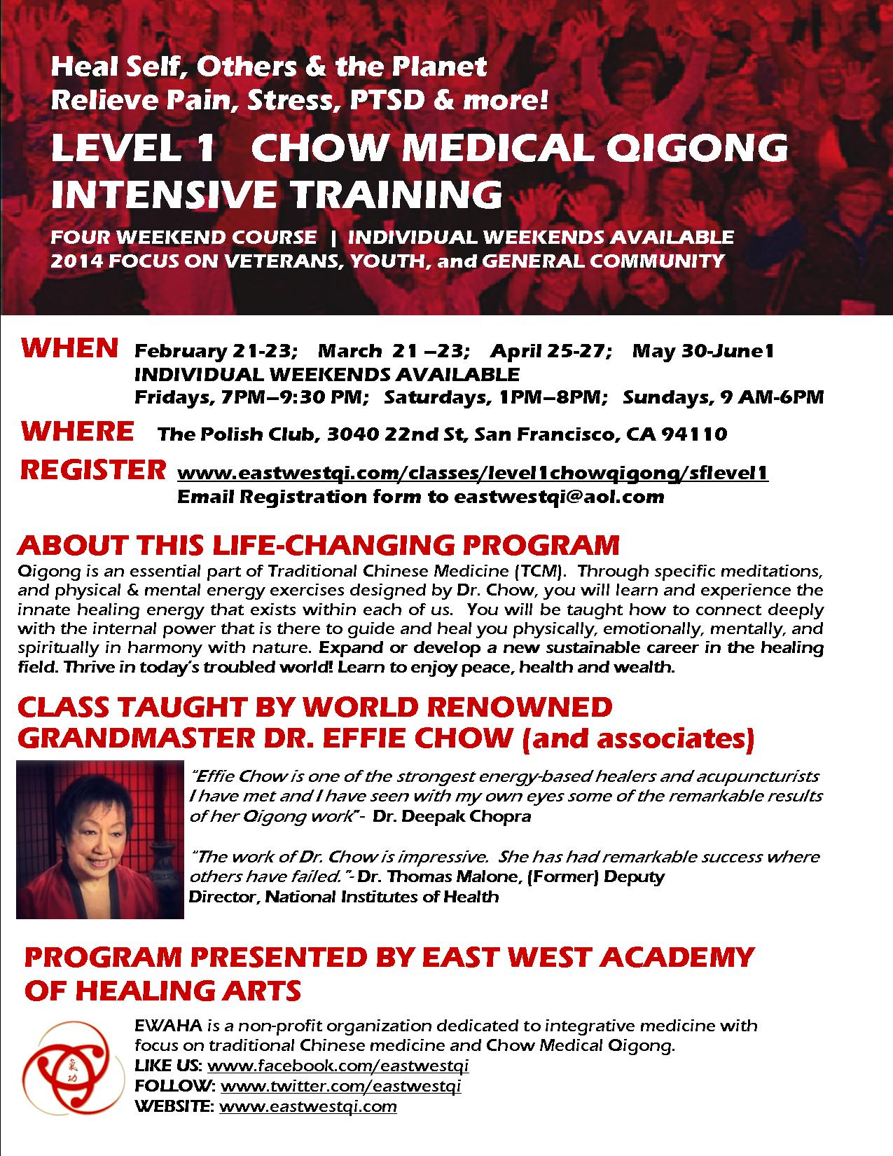 Chow Qigong Flyer for Level 1 Training San Francisco
