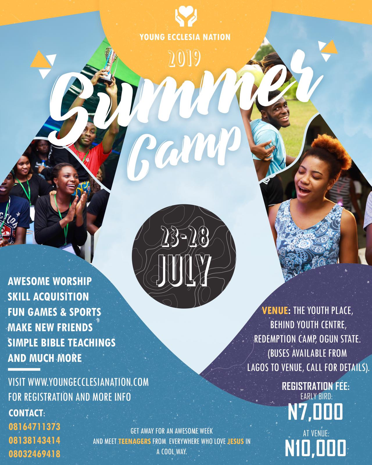 Flier for Young Ecclesia Nation Summer Camp 2019