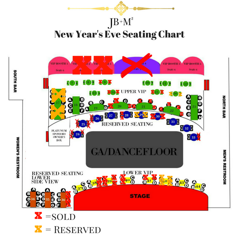 Seating Chart for NYE @ M15 with DW3 & Rick Marcel