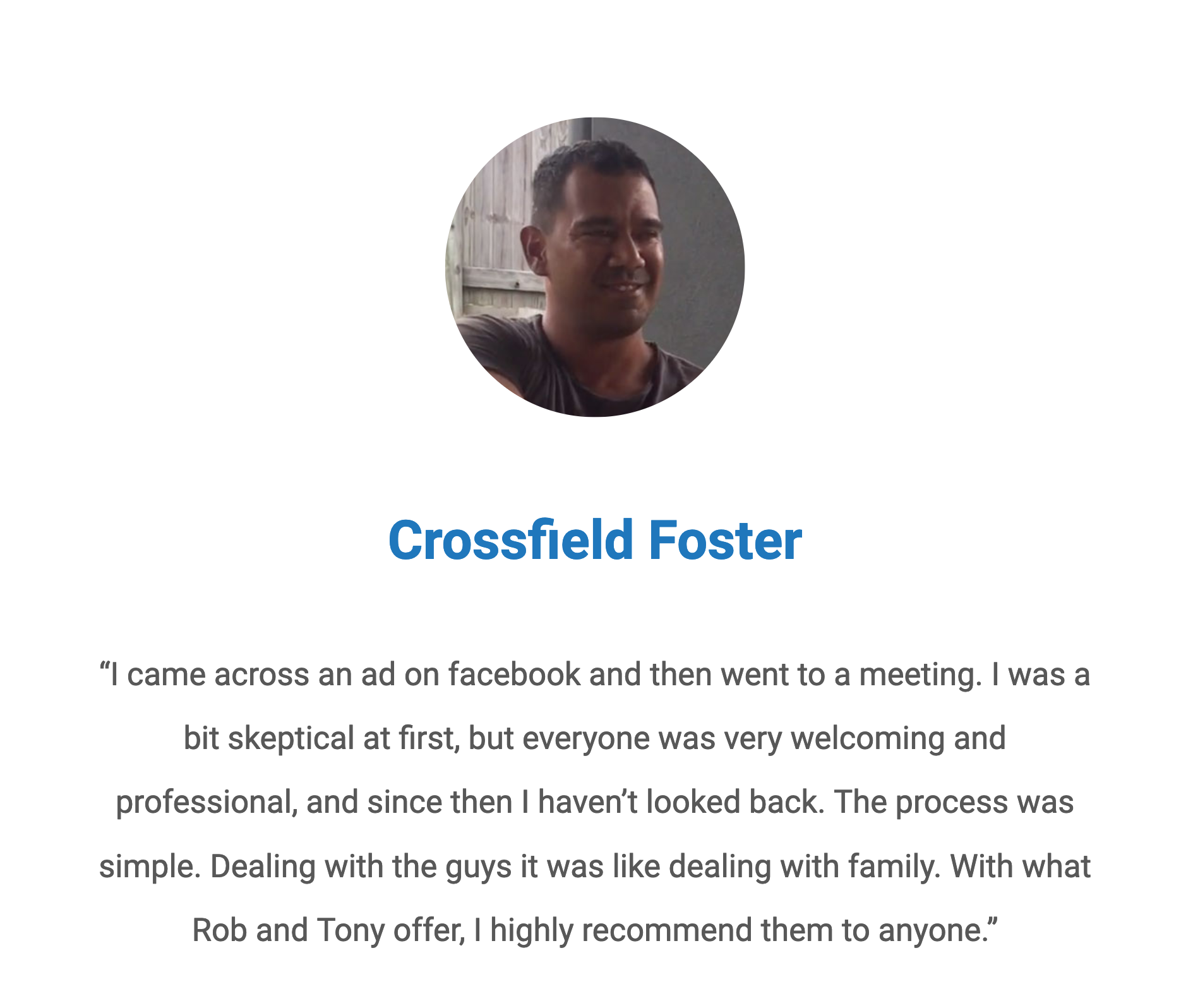 Testimony from Crossfield Foster