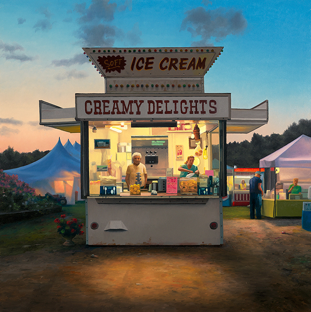 Oil on panel painting by Scott Prior of an ice cream stand at an amusement park at sunset.