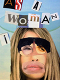 Face of a woman made up of different parts cut from magazines in the style of blackmail