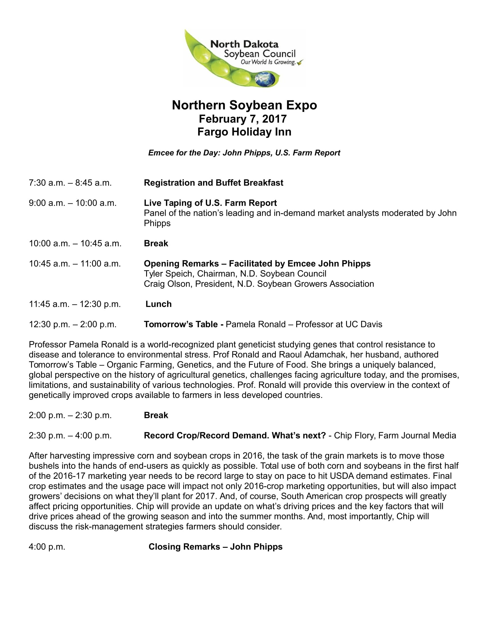Northern Soybean Expo Schedule