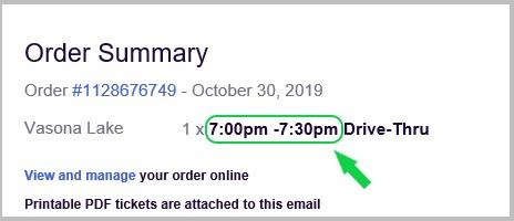 Order Summary Ticket Example